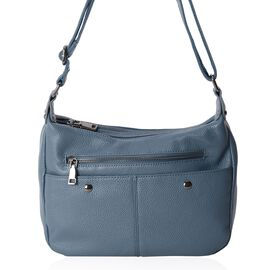 100% Genuine Leather Blue Colour Crossbody Bag with External Zipper Pocket and Adjustable Shoulder Strap (Size 26x20x9 Cm)