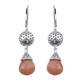Morogoro Peach Sunstone Lever Back Earrings in Platinum Overlay Sterling Silver 15.000 Ct.