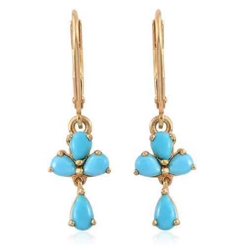 Arizona Sleeping Beauty Turquoise (Pear) Lever Back Earrings in 14K Gold Overlay Sterling Silver 1.250 Ct.