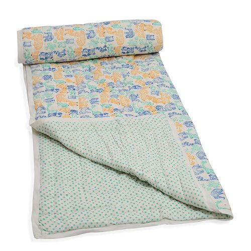 100% Cotton Hand Block Green, Blue and Yellow Colour Animals and Polka Dot Printed White Colour Quillow (Size 150x110 Cm)