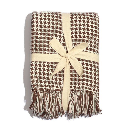 100% Cotton Houndstooth Pattern Chocolate and White Colour Plaid with Tassels (Size 150x125 Cm)