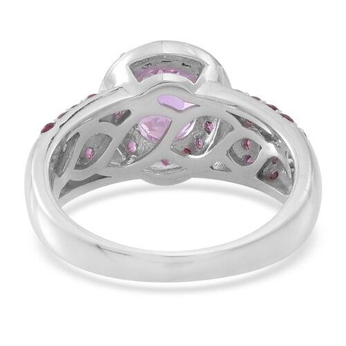 AAA Urucum Kunzite (Ovl 1.75 Ct), Rhodolite Garnet Ring in Rhodium Plated Sterling Silver 3.110 Ct.