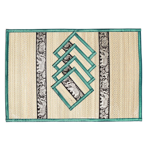 Traditional Thai Pattern Green Bamboo Wicker Placemat (12x18) and Coaster (5x5) Set