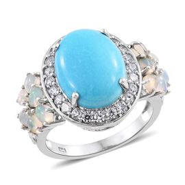 Arizona Sleeping Beauty Turquoise (Ovl 7.90 Ct), Ethiopian Welo Opal and Natural Cambodian Zircon Ring in Platinum Overlay Sterling Silver 10.500 Ct. Silver wt. 6.25 Gms.