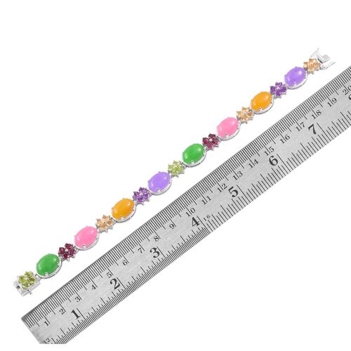 Limited Edition - Yellow, Pink, Purple and Green Jade (Ovl), Amethyst, Hebei Peridot and Multi GemStone Bracelet (Size 7.5) in Rhodium Plated Sterling Silver 58.500 Ct.