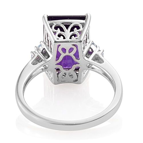 Amethyst (Oct), Signity Blue Topaz Ring in Platinum Overlay Sterling Silver 7.250 Ct.