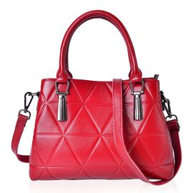 Premier Collection Genuine Leather Velvet Red Tote Bag with External Zipper Pocket and Adjustable and Removable Shoulder Strap (Size 29X22X12 Cm)