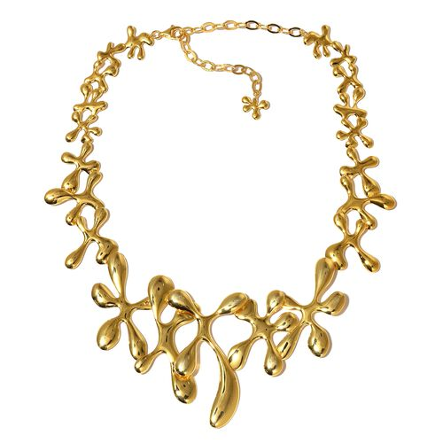 LucyQ SPLASH Necklace (Size 15 with 5 inch Extender) in Yellow Gold Overlay Sterling Silver 77.70 Gms.