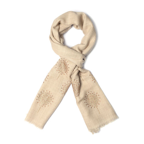 One Time Deal- Beige Colour New Zealand Super Fine Merino Wool and Silk Scarf Hand stitched sequin work (Size 190x70 Cm)