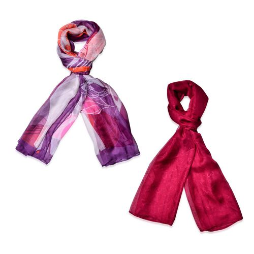 Set of 2 - Designer Inspired Flower Pattern Multi and Heart Pattern Wine Red Colour Scarf (Size 175x70 Cm)