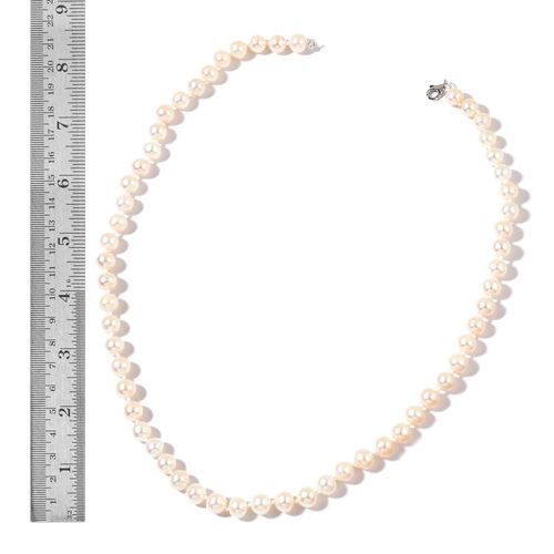 9K W Gold AAAA Fresh Water White Pearl Necklace (Size 18)