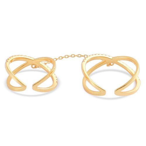 AAA Simulated White Diamond 2 Rings with Chain in Yellow Gold Overlay Sterling Silver