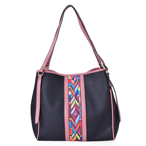 Black, Pink and Multi Colour Aztec Pattern Stripe Embellished Tote Bag (Size 32X31X14 Cm)