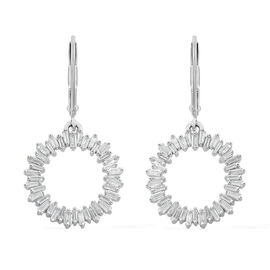 Designer Inspired- 9K White Gold SGL Certified Diamond (Bgt) (I3/G-H) Circle of Life Lever Back Earrings 1.000 Ct.
