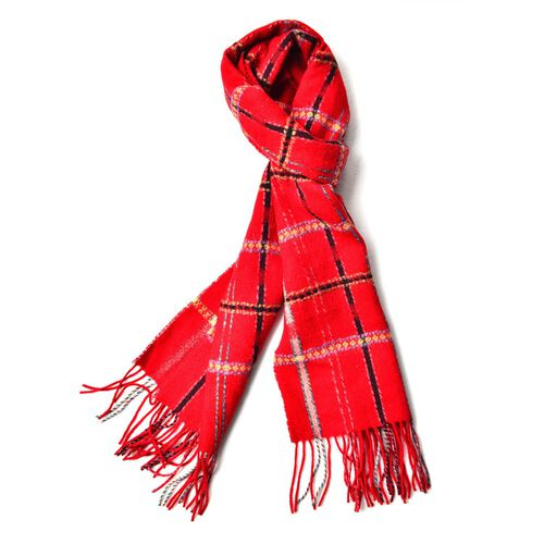 100% Wool Red, Black and Multi Colour Checks Pattern Scarf with Tassels (Size 160X30 Cm)