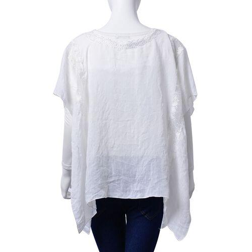 (Option 1) Lace Neckline Detail White Colour loose fitting Top (Size 85x65 Cm)