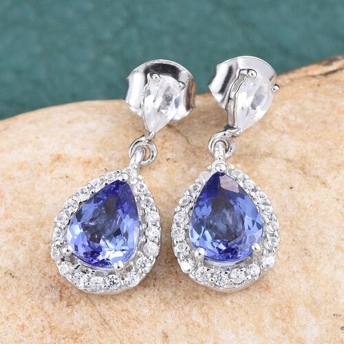 9K W Gold Tanzanite (Pear), Natural Cambodian Zircon Earrings (with Push Back) 3.500 Ct.