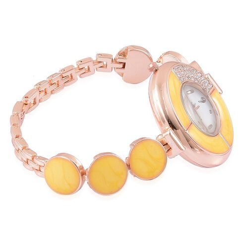 STRADA Japanese Movement White Austrian Crystal Yellow Colour Enameled Watch in Rose Gold Tone with Stainless Steel Back