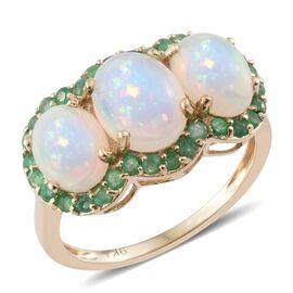 9K Yellow Gold AAA Ethiopian Welo Opal (Ovl 1.15 Ct), Brazilian Emerald Ring 3.150 Ct.