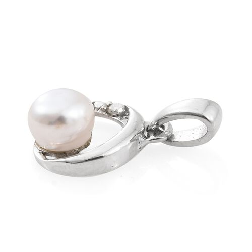 Fresh Water Pearl (6mm) and Diamond Pendant in Platinum Plated Silver