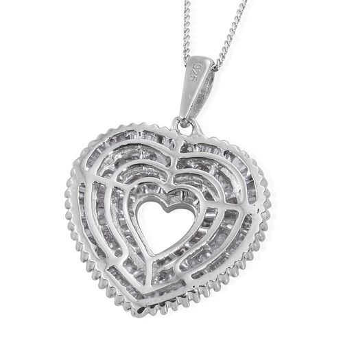 Diamond (Bgt) Heart Pendant with Chain in Platinum Overlay Sterling Silver 1.000 Ct. Number of Diamonds 115