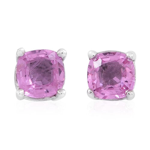Limited Available- 9K W Gold Very Rare AAA Pink Sapphire (Cush) Stud Earrings (with Push Back) 1.250 Ct.