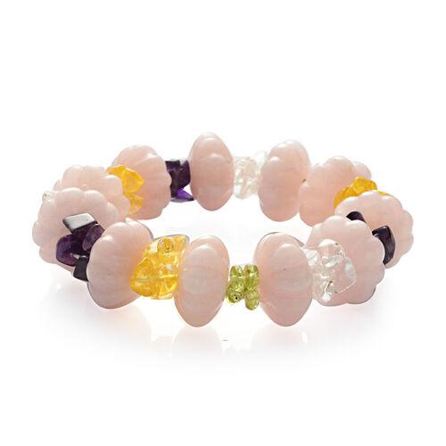 Rose Quartz and Multi Colour Glass Stretchable Bracelet 101.000 Ct.