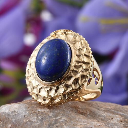 GP Lapis Lazuli (Ovl 9.70 Ct), Kanchanaburi Blue Sapphire Ring in 14K Gold Overlay Sterling Silver 9.750 Ct. Silver wt 9.59 Gms.