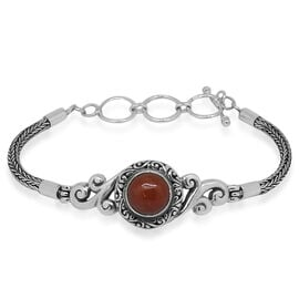 Royal Bali Collection Burmese Red Jade (Rnd) Bracelet (Size 7.5 with Half inch Extender) in Sterling Silver 4.962 Ct. Silver wt. 14.00 Gms.
