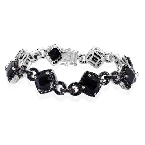 Boi Ploi Black Spinel (Cush and Rnd) Bracelet (Size 7) in Black Rhodium Plated Silver 22.100 Ct. Silver wt 14.00 Gms. Number of Gemstone 272