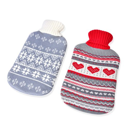 Set of 2 Hotwater Bottle with Heart and Floral knitted Cover (Size 32X18 Cm)