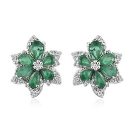 AA Kagem Zambian Emerald (Pear), Natural Cambodian Zircon Flower Stud Earrings (with Push Back) in Platinum Overlay Sterling Silver 3.000 Ct.