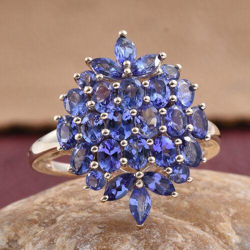 9K Y Gold Tanzanite (Ovl) Cluster Ring 3.500 Ct.