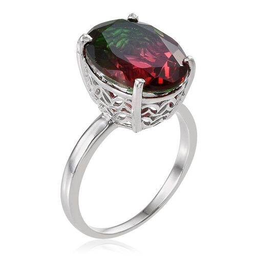 Tourmaline Colour Quartz (Ovl) Solitaire Ring in Platinum Overlay Sterling Silver 8.750 Ct.