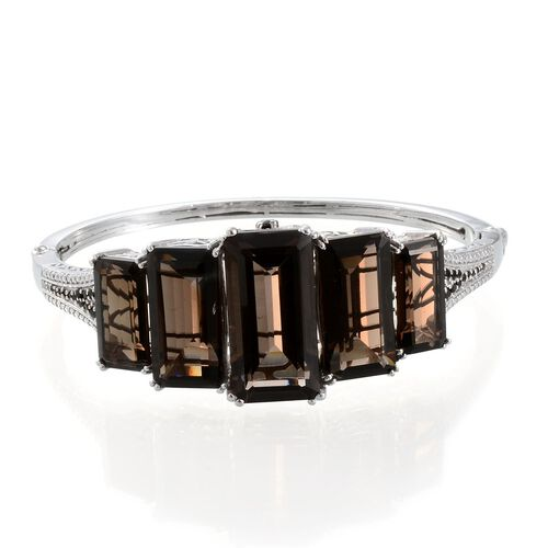 Brazilian Smoky Quartz (Oct 11.50 Ct), Boi Ploi Black Spinel and Diamond Bangle in Platinum Overlay Sterling Silver (Size 7.5) 41.150 Ct.