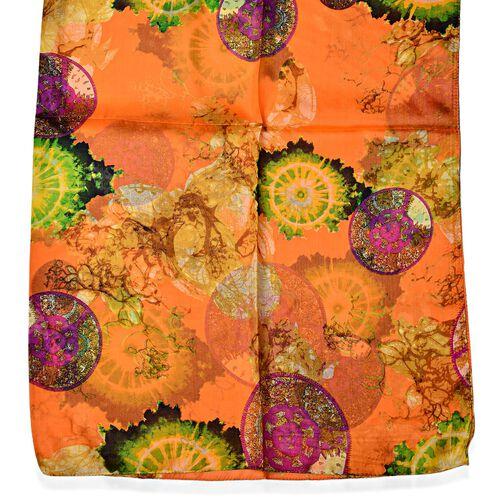 100% Mulberry Silk Orange and Multi Colour Scarf (Size 180x110 Cm)
