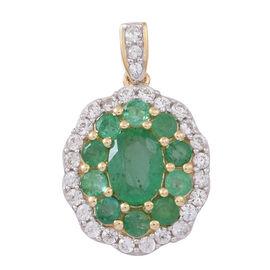 9K Y Gold Kagem Zambian Emerald (Ovl 0.70 Ct), Natural Cambodian White Zircon Pendant 2.000 Ct.