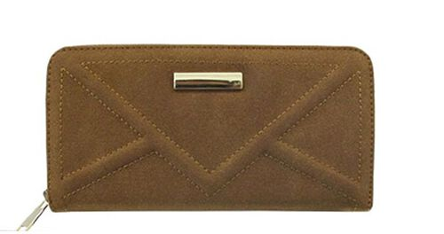 Stella Topaz Brown Textured Suede Look Long Wallet (Size 19x10 Cm)