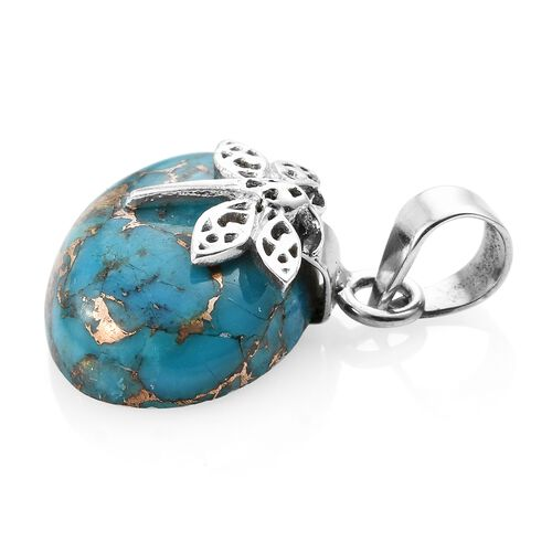 Blue Turquoise (Ovl) 25x18 mm Dragonfly Pendant in Sterling Silver 15.870 Ct.