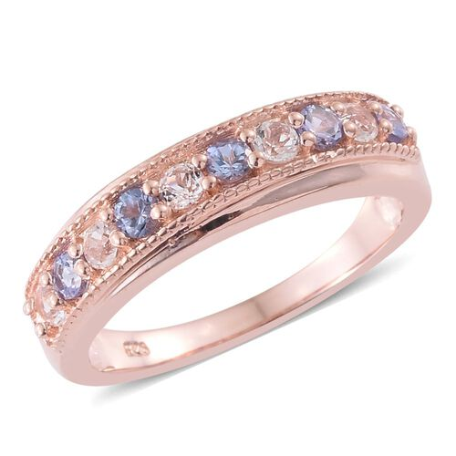 Tanzanite and White Topaz 0.58 Ct Silver Half Eternity Band Ring in Rose Gold Overlay