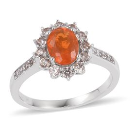9K White Gold AAA Jalisco Fire Opal (Ovl), Natural White Cambodian Zircon Ring 1.840 Ct.
