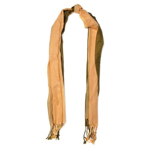 Designer Inspired 100% Wool Brown and Green Colour Scarf with Tassels (Size 175x70 Cm)
