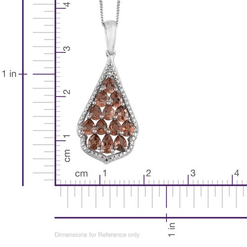 Jenipapo Andalusite (Pear), Diamond Pendant With Chain in Platinum Overlay Sterling Silver 2.010 Ct.