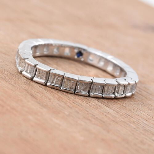 GP Diamond Dream (Bgt), Kanchanaburi Blue Sapphire Ring in Platinum Overlay Sterling Silver 0.350 Ct.