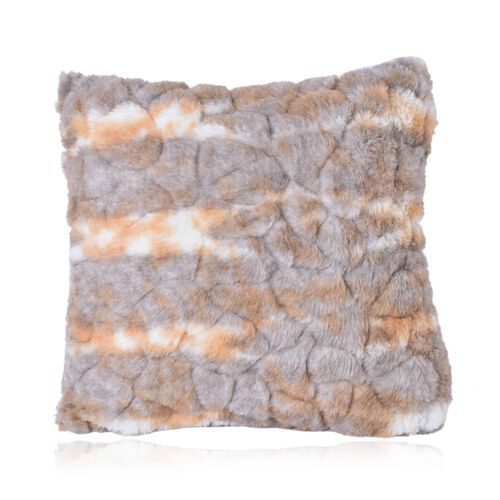 Luxury Edition - Set of 2 Reversible Long Pile Faux Fur Cushion Covers with Zipper on one Side, Grey (Size 43x43 cm)