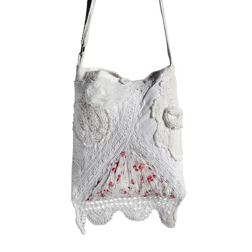 New For Season - 100% Cotton Multi Colour Floral and Leaves Printed Square Shape White Colour Shoulder Bag (Size 30x25 Cm)