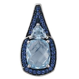 Sky Blue Topaz (Cush 3.50 Ct), Sapphire Colour Crystal Pendant in Platinum Overlay Sterling Silver 4.250 Ct.
