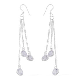 Simulated White Diamond (Rnd) Dangle Hook Earrings in Sterling Silver