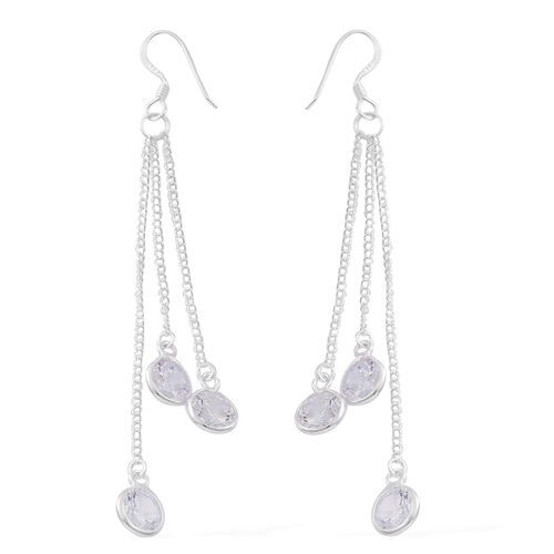 ELANZA AAA Simulated White Diamond (Rnd) Dangle Hook Earrings in Sterling Silver, Silver wt 3.80 Gms.