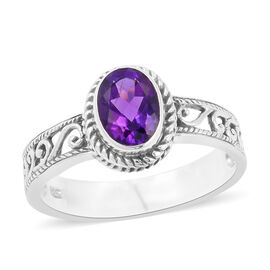 Royal Bali Collection Amethyst (Ovl) Filigree Ring in Sterling Silver 1.093 Ct. Silver wt 3.00 Gms.